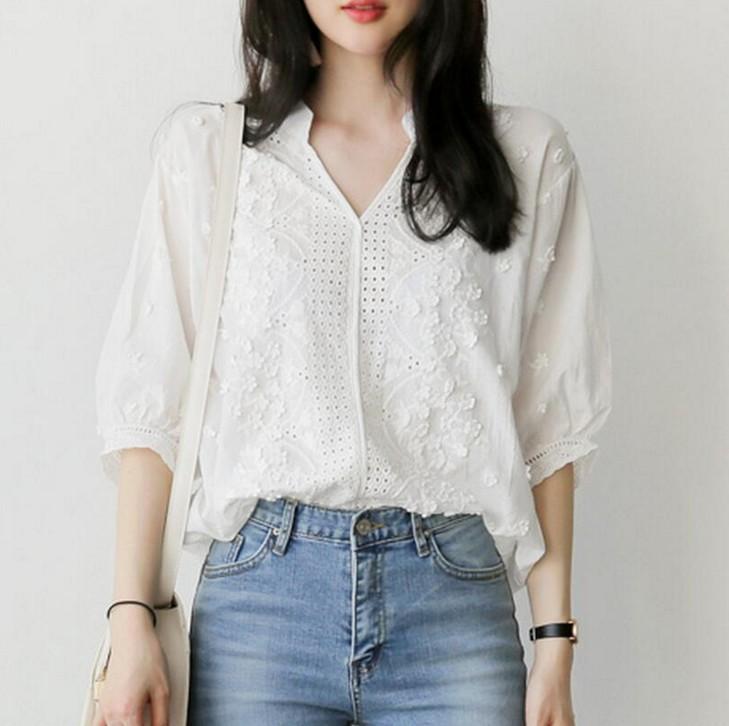 法式衬衫 震撼低价纯原 简直太美了 法式刺绣上衣衬衫女_推荐淘宝好看的女法 衬衫