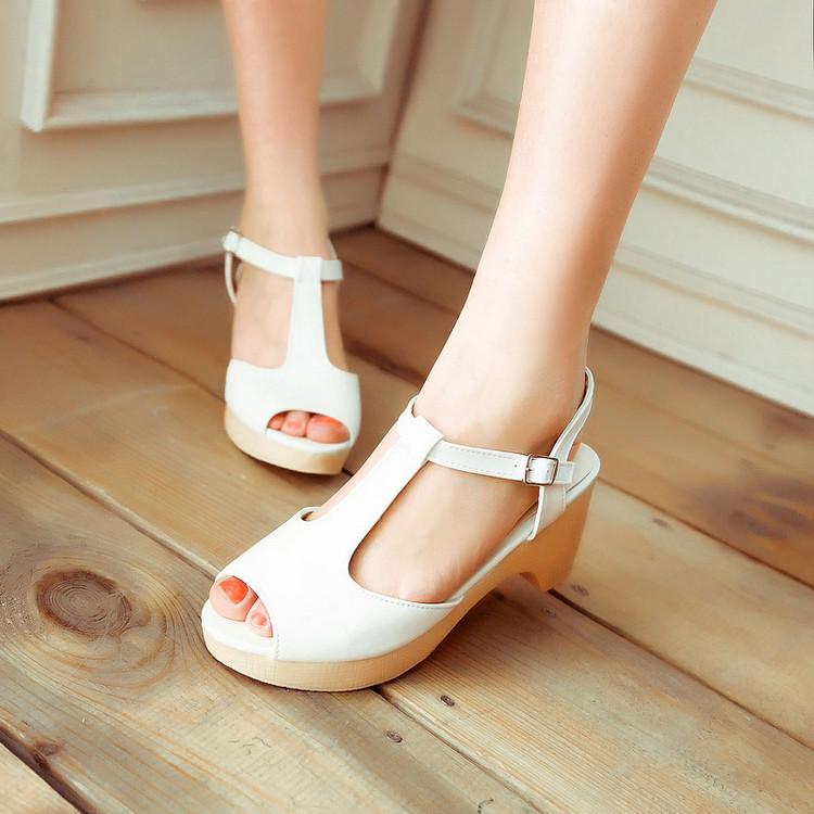 粉红色鱼嘴鞋 2016新款时尚鱼嘴中跟粗跟凉鞋厚底夏季韩版女鞋子白色蓝色粉红色_推荐淘宝好看的粉红色鱼嘴鞋