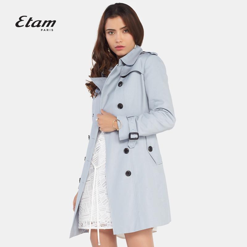 艾格风衣 艾格Etam  秋新品时尚双排扣简约修身风衣女8A013400147_推荐淘宝好看的艾格风衣