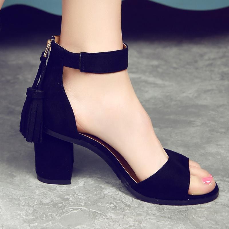 罗马高跟鞋 2016夏欧美新款露趾中粗方跟中空流苏百搭性感真皮罗马高跟女凉鞋_推荐淘宝好看的女罗马高跟鞋