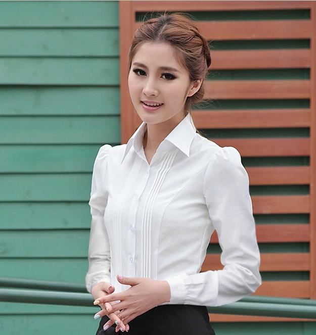 白衬衫 白衬衫女长袖职业装新款白色衬衣女�