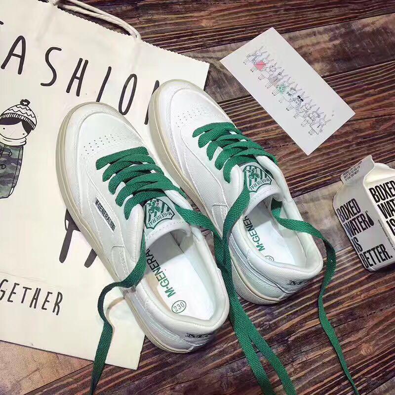 绿色松糕鞋 二层牛皮系带小白鞋黑色红色绿色鞋带打孔透气百搭厚底松糕休闲鞋_推荐淘宝好看的绿色松糕鞋