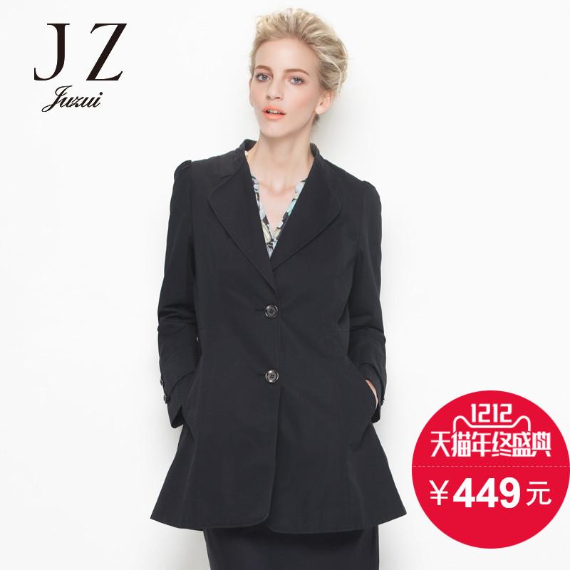 黑色风衣 JUZUI玖姿女装 高端2016秋款中长修身时尚黑色风衣外套_推荐淘宝好看的黑色风衣
