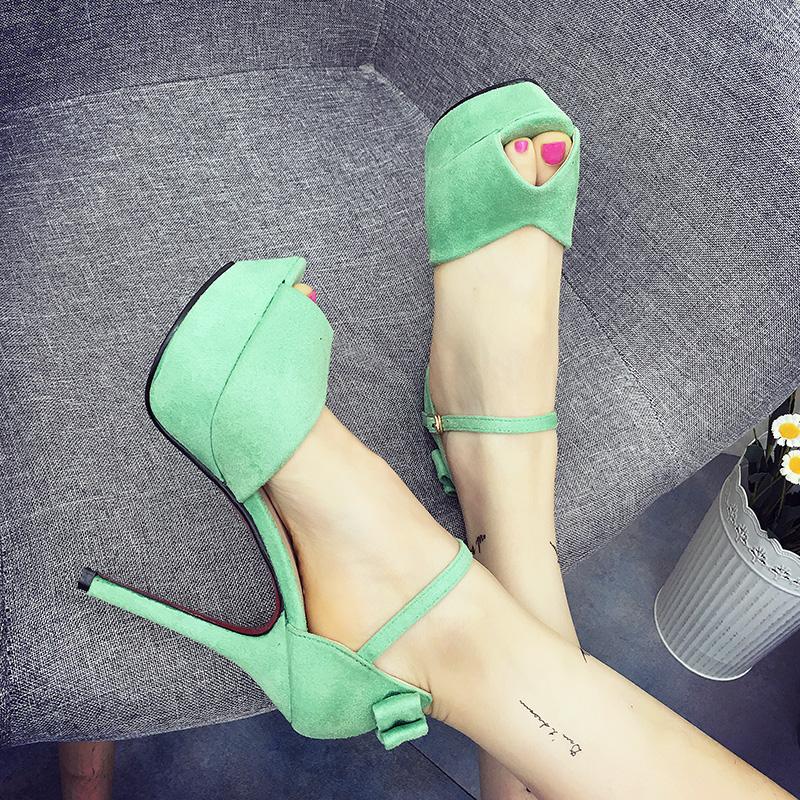 绿色鱼嘴鞋 韩版甜美绒面蝴蝶结马卡龙鱼嘴细跟超高跟鞋防水台绿色一字扣凉鞋_推荐淘宝好看的绿色鱼嘴鞋