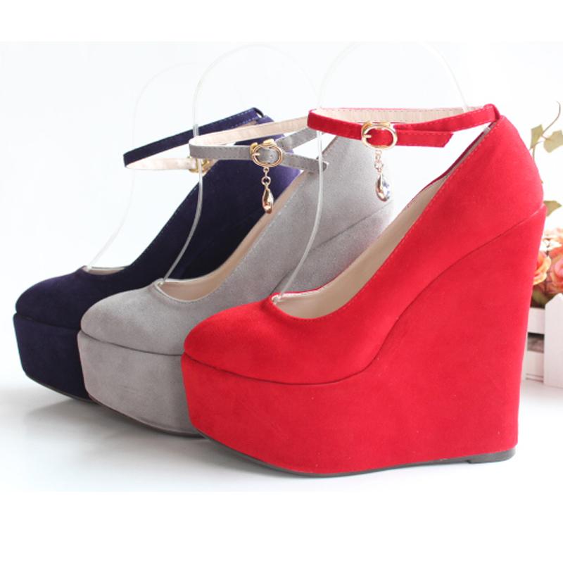 红色坡跟鞋 新款超高坡跟15cm防水台5cm红色婚鞋新娘鞋女单鞋大码小码夜店43_推荐淘宝好看的红色坡跟鞋