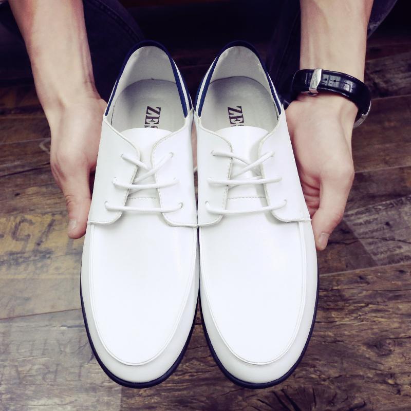 白色豆豆鞋 冬季新款男鞋韩版白色豆豆鞋真皮男士休闲鞋秋季皮鞋懒人鞋潮鞋子_推荐淘宝好看的白色豆豆鞋