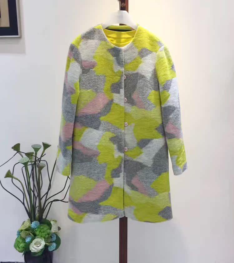 欧时力女装正品 ochirly欧时力正品女装 羊毛大衣 几何纹_推荐淘宝好看的欧时力女装正品