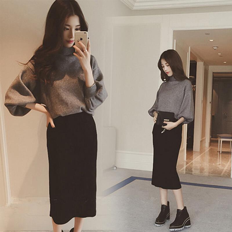 黑色半身裙 韩版高腰裙半身裙中长款秋冬新款弹力一步裙修身显瘦女包臀裙开叉_推荐淘宝好看的黑色半身裙