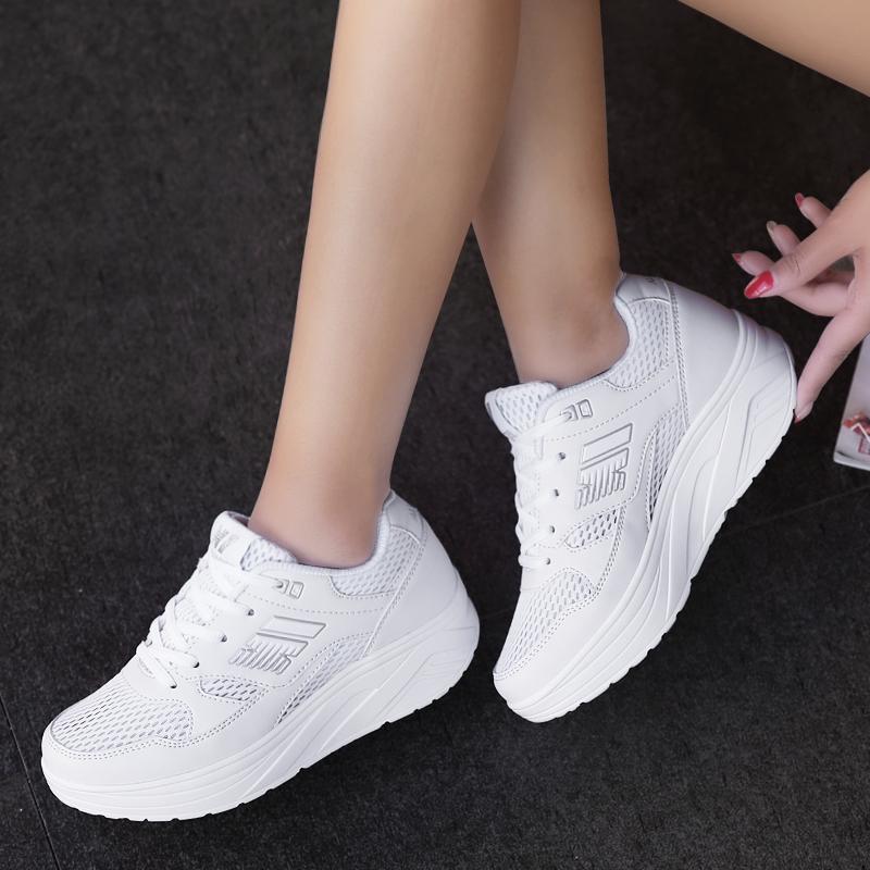 运动鞋 新款运动鞋女摇摇鞋网面透气跑步鞋女皮面休闲跑步鞋女白色旅游鞋_推荐淘宝好看的女运动鞋