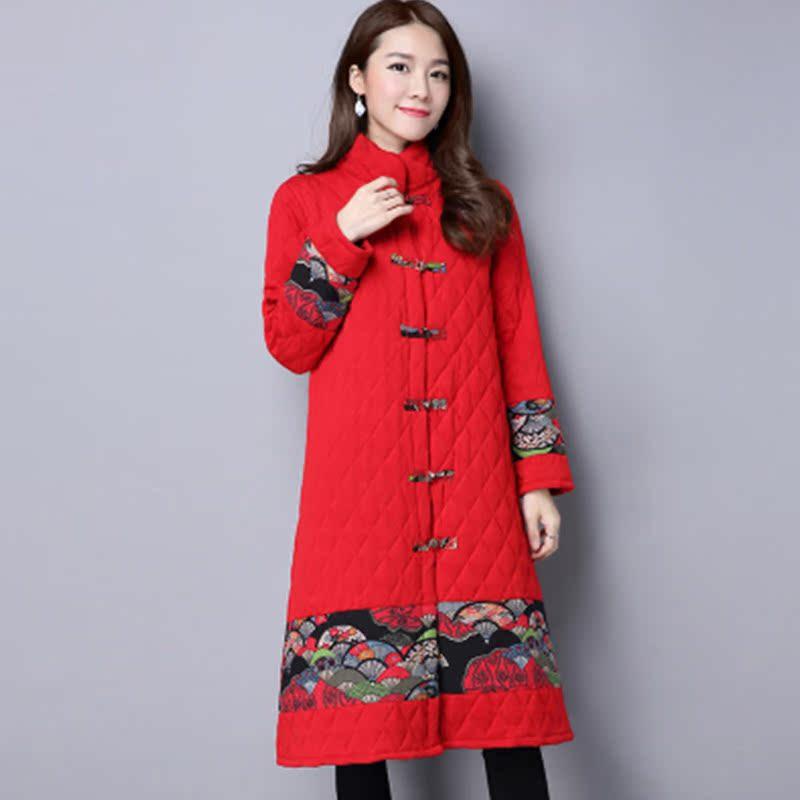 红色风衣 2016冬季民族风大码中长款盘扣印花拼接棉大衣女长袖开衫风衣外套_推荐淘宝好看的红色风衣