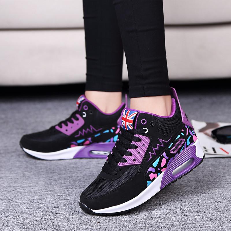 紫色高帮鞋 16新款涂鸦高帮鞋女个性紫色布洛克运动鞋潮款中学生彩色休闲鞋女_推荐淘宝好看的紫色高帮鞋