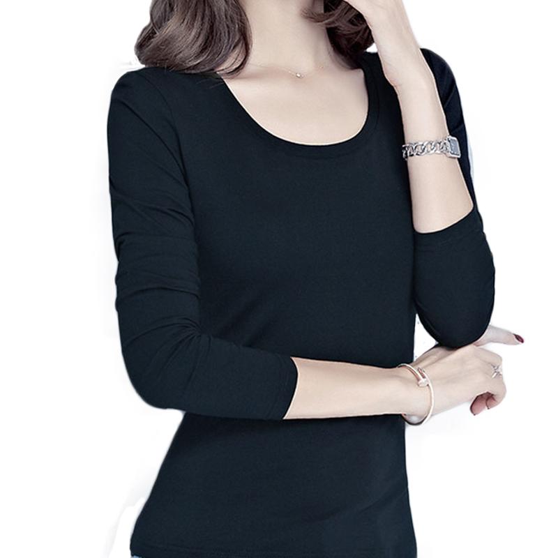 纯棉白t恤 纯色秋季圆领女长袖环保T恤纯棉环保时尚打底衫修身弹力_推荐淘宝好看的女纯棉白t恤