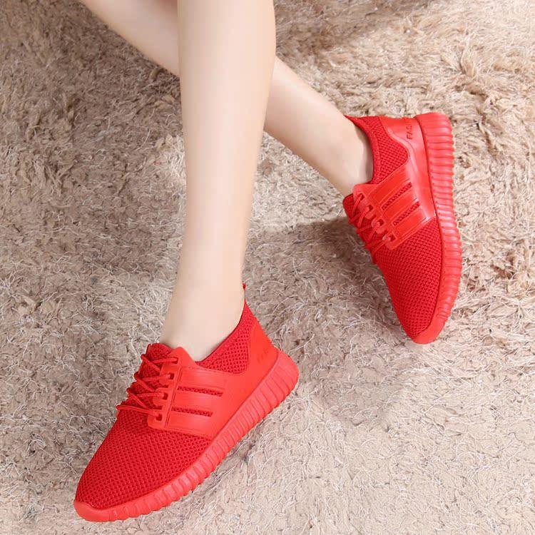 红色运动鞋 2017秋冬新款单鞋女红色运动休闲鞋系带加绒平底学生跑步鞋女棉鞋_推荐淘宝好看的红色运动鞋