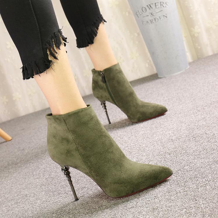 新款高跟鞋 2016新款韩版侧拉链绒面尖头短靴骑士靴短筒靴子女细跟超高跟鞋秋_推荐淘宝好看的女新款高跟鞋