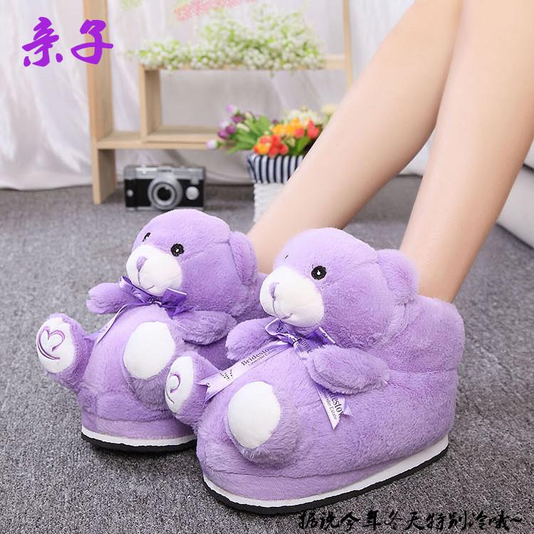 紫色高帮鞋 冬季居家卡通棉鞋女士高帮防滑薰衣草紫色小熊创意亲子毛毛鞋包邮_推荐淘宝好看的紫色高帮鞋