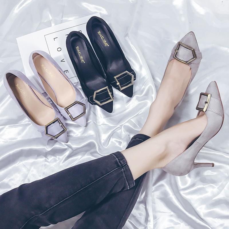 紫色高跟鞋 紫色高跟鞋女细跟夏季公主甜美学生尖头灰色绒面百搭职业上班单鞋_推荐淘宝好看的紫色高跟鞋
