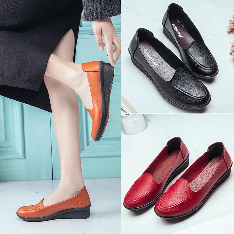 女鞋 夏季中年妈妈鞋软底平底平跟皮鞋中老年女鞋浅口防滑老人软底单鞋_推荐淘宝好看的女鞋