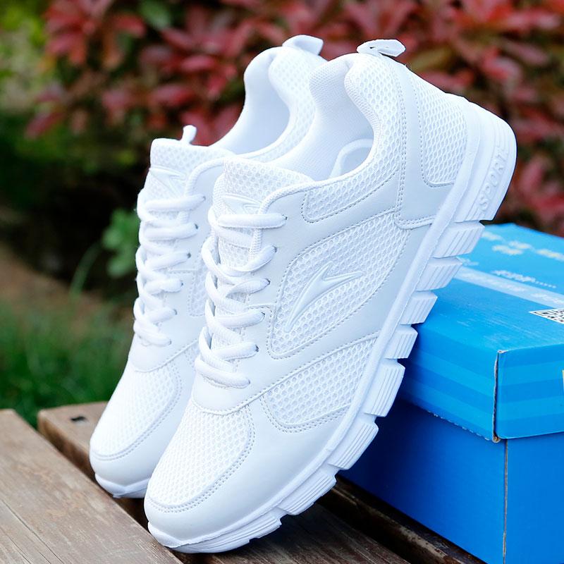 白色运动鞋 夏季新款软底跑鞋白色运动鞋女鞋透气网鞋大码女鞋韩版潮学生男鞋_推荐淘宝好看的白色运动鞋