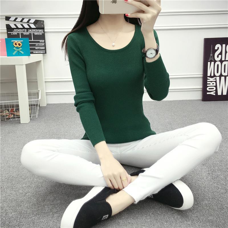 绿色针织衫 天天特价打底衫低领毛衣女圆领长袖潮修身显瘦上衣紧身秋冬针织衫_推荐淘宝好看的绿色针织衫