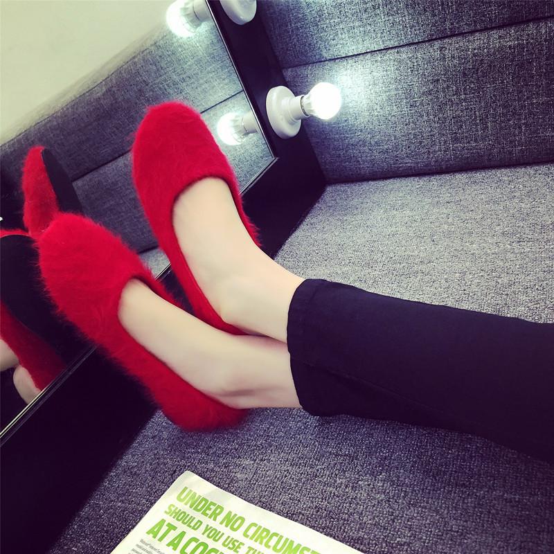 红色豆豆鞋 2017春季毛毛鞋女豆豆鞋兔毛红色懒人鞋圆头平底棉瓢鞋女浅口单鞋_推荐淘宝好看的红色豆豆鞋