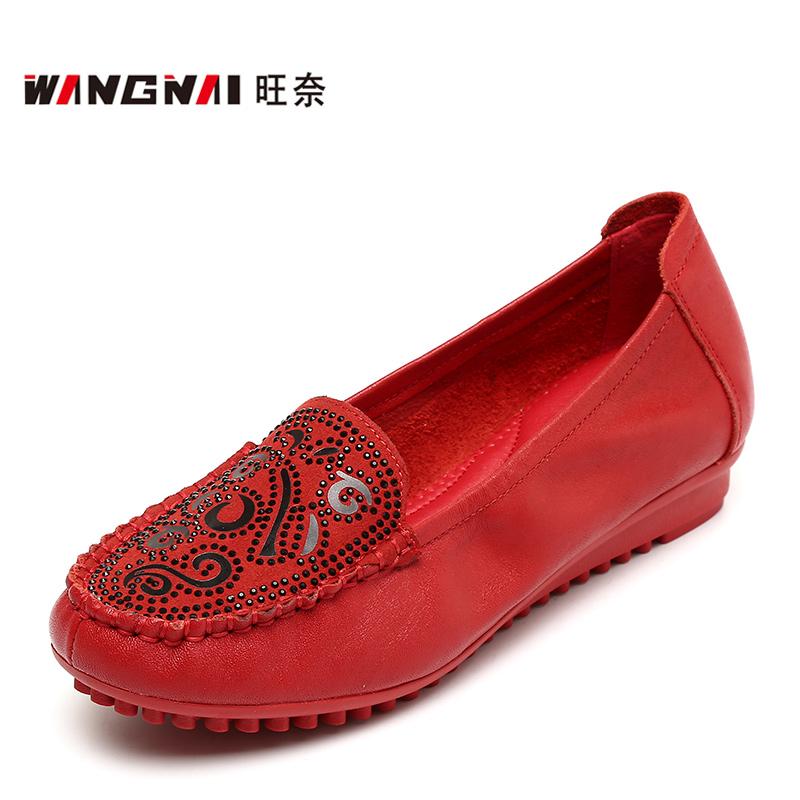 红色豆豆鞋 春秋中年妇女皮鞋闰月红色单鞋软底牛皮豆豆鞋34-42中老年妈妈鞋_推荐淘宝好看的红色豆豆鞋