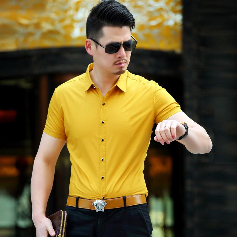黄色衬衫 宝马短袖衬衫男2017夏季男士商务休闲寸衫薄款丝光棉纯色衬衣免烫_推荐淘宝好看的黄色衬衫