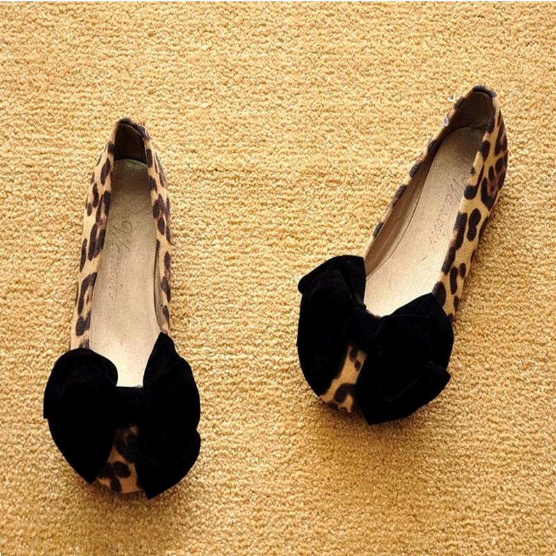 豹纹单鞋 2017春季新款瓢鞋平底单鞋女船鞋 浅口蝴蝶结豹纹大码女鞋孕妇鞋_推荐淘宝好看的豹纹单鞋