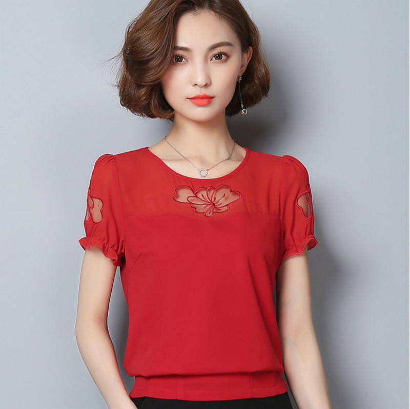 红色雪纺衫 2017夏装韩版短袖收腰显瘦短款小衫女士上衣雪纺衫30岁年轻妈妈装_推荐淘宝好看的红色雪纺衫
