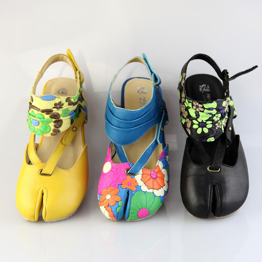 黄色凉鞋 夏新真皮头层牛皮女款分指民族风印花皮中跟凉鞋 黑色蓝色黄色_推荐淘宝好看的黄色凉鞋