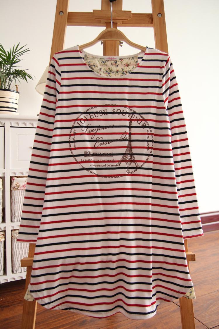 彩色条纹t恤 森女款 彩色条纹 铁塔印花中长款长袖T恤_推荐淘宝好看的女彩色条纹t恤