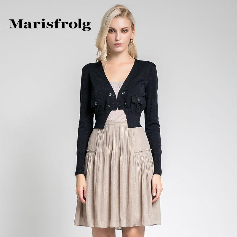 玛丝菲尔女装正品 Marisfrolg玛丝菲尔女装时尚长袖短款羊毛针织衫开衫秋专柜正品_推荐淘宝好看的玛丝菲尔正品