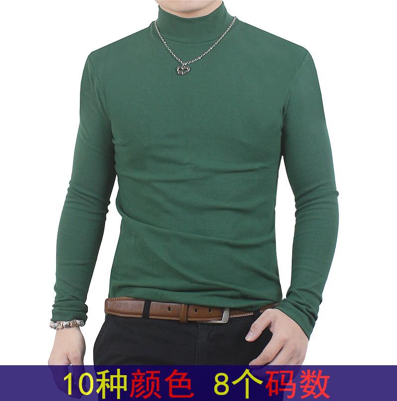 紫色T恤 秋装男款修身立领长袖加大码T恤男士中半高领打底衫内衣服秋衣潮_推荐淘宝好看的紫色T恤