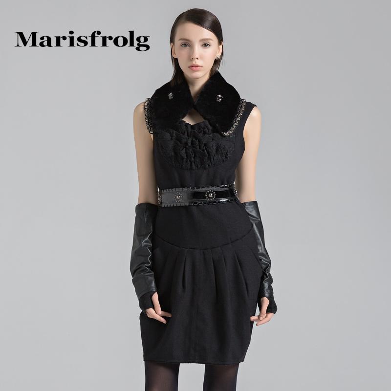 玛丝菲尔女装正品 Marisfrolg玛丝菲尔女装时尚拼接堆褶设计羊毛连衣裙秋专柜正品_推荐淘宝好看的玛丝菲尔正品