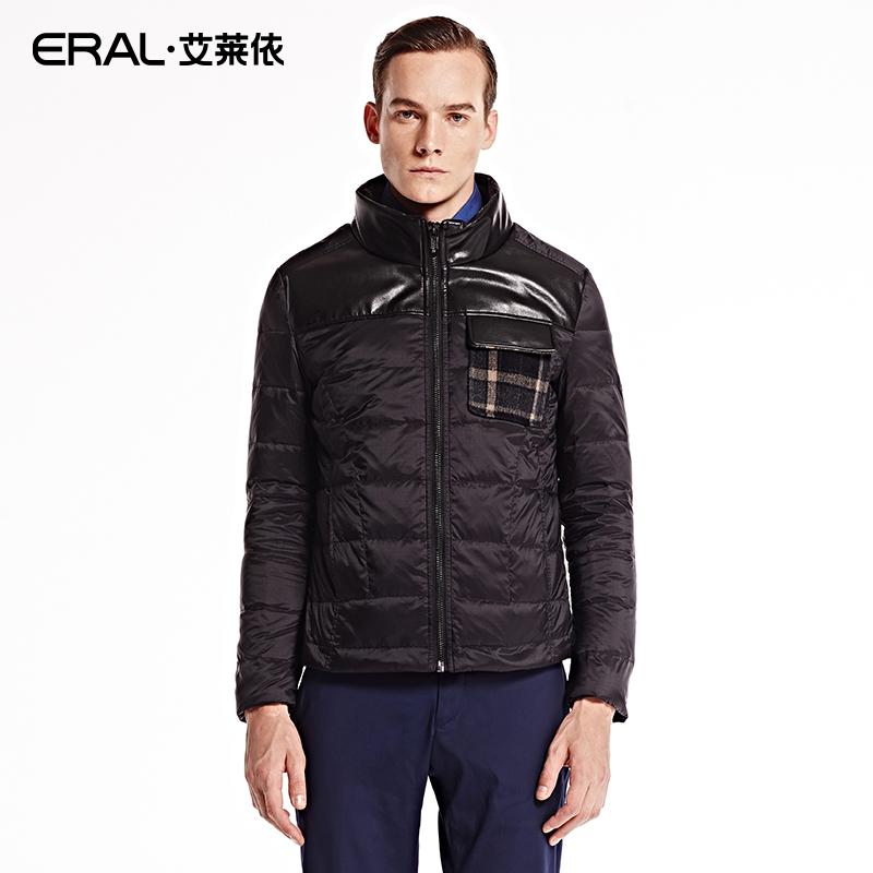艾莱依羽绒服男款 ERAL艾莱依两件套拼皮羽绒外套男装保暖羽绒服ERAL9003C_推荐淘宝好看的艾莱依羽绒服男