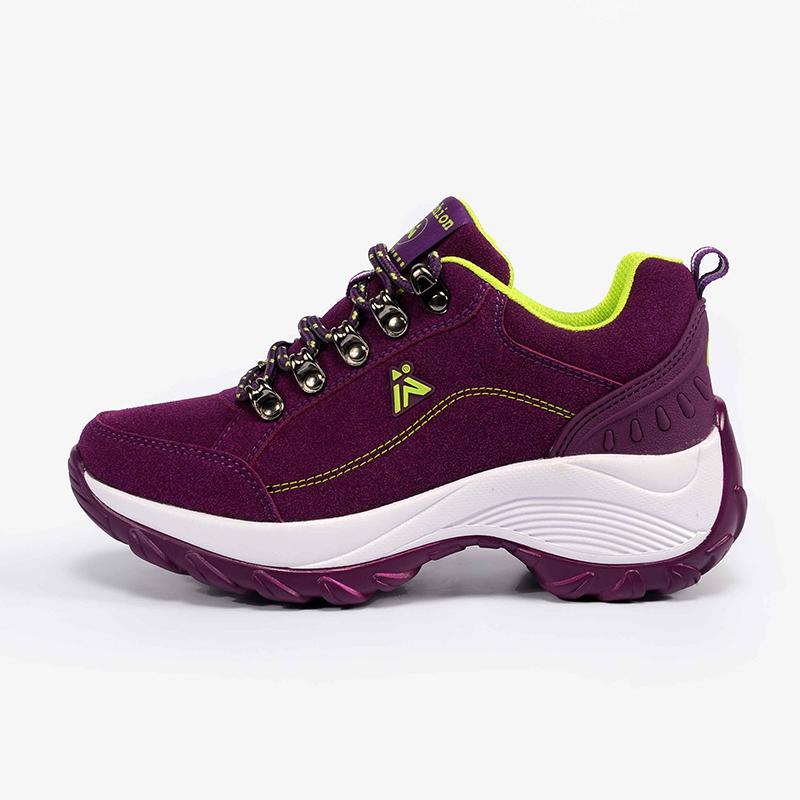 紫色厚底鞋 紫色徒步女款户外坡跟登山鞋厚底内增高女士户外鞋防滑女子登山鞋_推荐淘宝好看的紫色厚底鞋