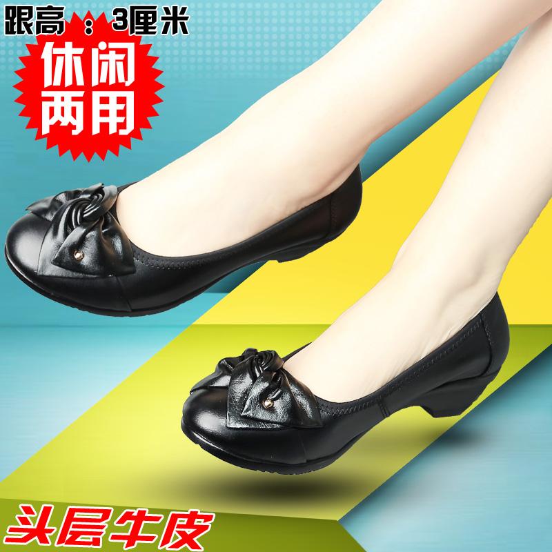 黑色单鞋 春季新款工作女单鞋 真皮妈妈鞋平底低跟休闲皮鞋黑色牛皮软底_推荐淘宝好看的黑色单鞋