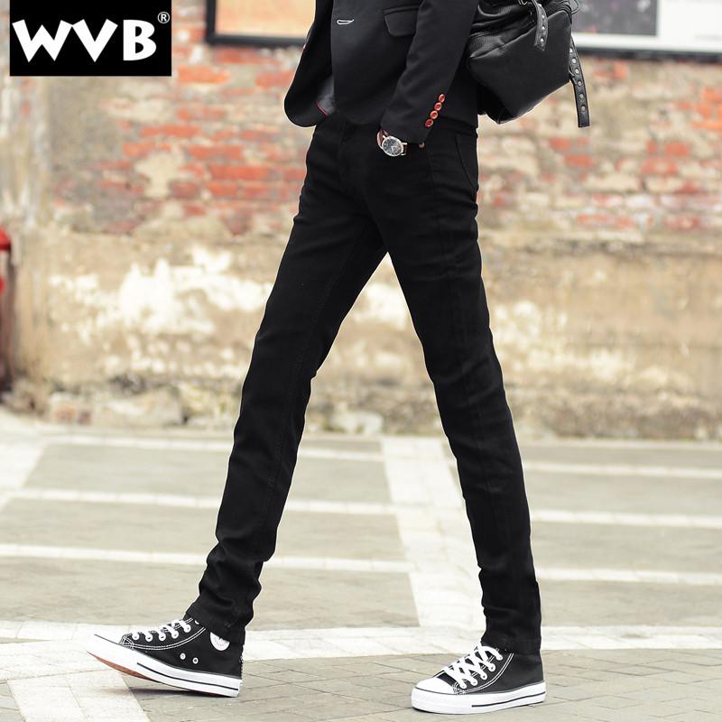 黑色牛仔裤 冬季青少年小脚牛仔裤男黑色加绒修身秋冬款弹力紧身休闲长裤子男_推荐淘宝好看的黑色牛仔裤
