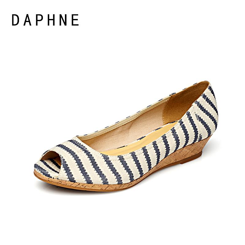 达芙妮坡跟鞋 Daphne达芙妮 春夏款坡跟条纹布面鱼嘴浅口单鞋1515102002_推荐淘宝好看的达芙妮坡跟鞋