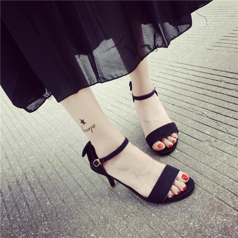 女式高跟凉鞋 欧美性感露趾凉鞋细跟中跟黑色百搭一字带高跟鞋2016夏季新款女鞋_推荐淘宝好看的女高跟凉鞋