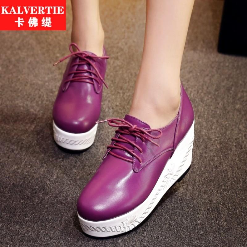 紫色松糕鞋 紫色聚氨酯欧洲站休闲系带绣花植物花卉黄色修面皮松糕鞋单鞋女鞋_推荐淘宝好看的紫色松糕鞋