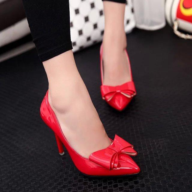 红色高跟鞋 高跟鞋女秋季2017新款高跟婚鞋女红色新娘鞋蝴蝶结尖头细跟单鞋子_推荐淘宝好看的红色高跟鞋