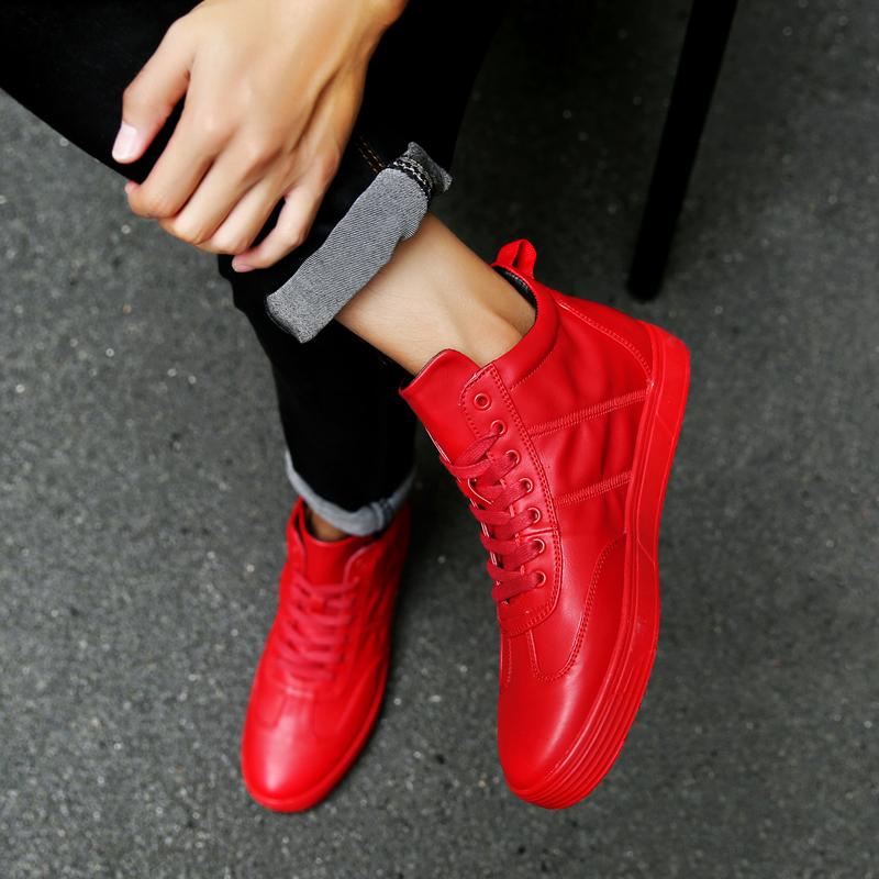红色高帮鞋 GD权志龙同款鞋男潮韩版个性高帮鞋红色街舞鞋纯色板鞋林弯弯男鞋_推荐淘宝好看的红色高帮鞋