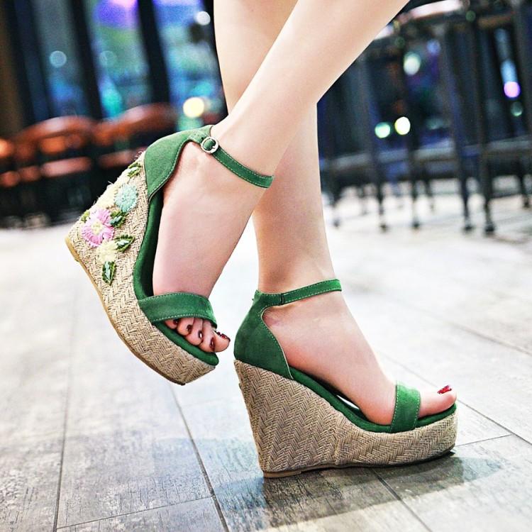 绿色凉鞋 舒适蓝色粉红色绿色女鞋婚鞋民族风绣花亚麻超高跟坡跟凉鞋 女 QY_推荐淘宝好看的绿色凉鞋
