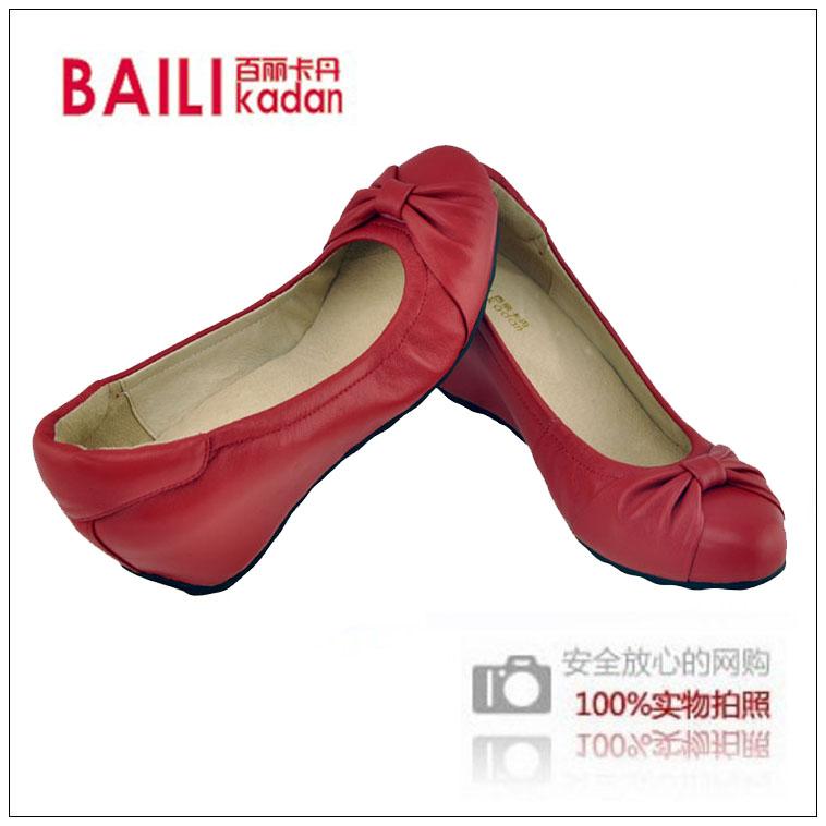 红色坡跟鞋 红色春季女士内增高软底休闲鞋子 真皮蝴蝶结浅口圆头坡跟女单鞋_推荐淘宝好看的红色坡跟鞋