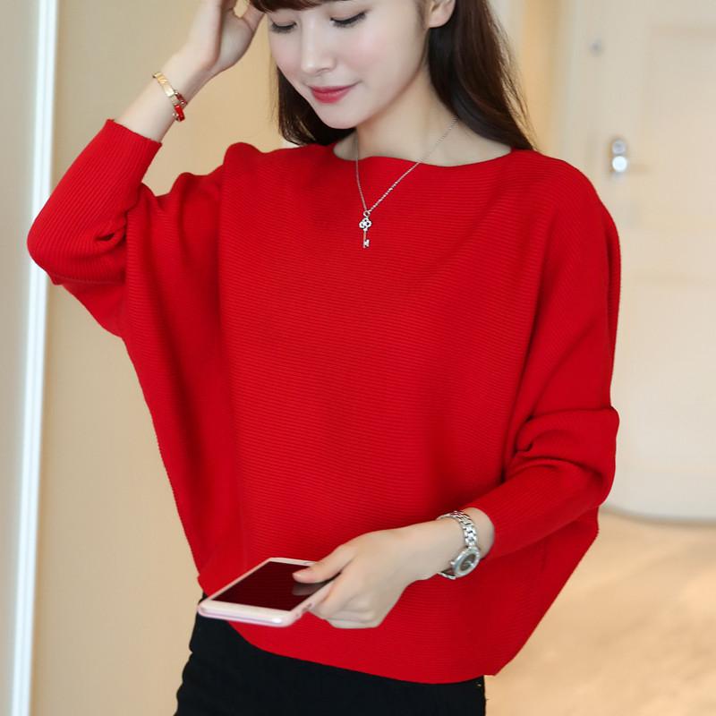 红色针织衫 春秋女装韩版上衣短款一字领打底薄大码宽松蝙蝠袖针织衫显瘦毛衣_推荐淘宝好看的红色针织衫