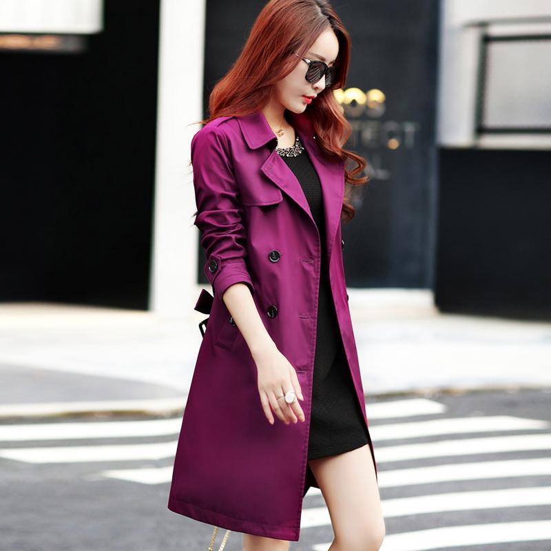 紫色风衣 风衣女中长款韩版春季2017新款潮春秋修身显瘦双排扣百搭外套英伦_推荐淘宝好看的紫色风衣