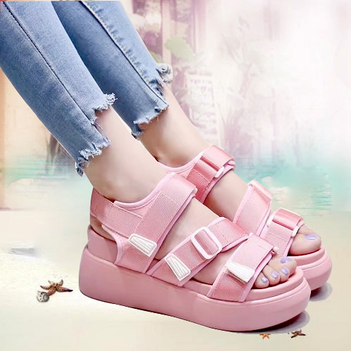 红色罗马鞋 粉红色女式凉鞋坡跟2017夏季新款松糕厚底魔术贴舒适平底学生罗马_推荐淘宝好看的红色罗马鞋