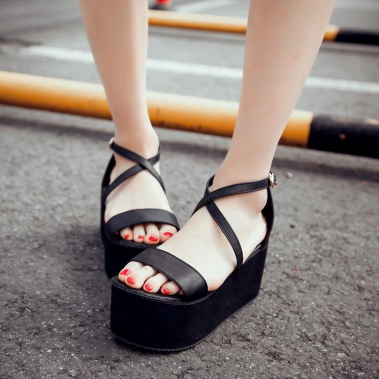 粉红色罗马鞋 高跟大码脚环绑带白色优雅粉红色松糕底露趾伴娘罗马鞋米色女凉鞋_推荐淘宝好看的粉红色罗马鞋