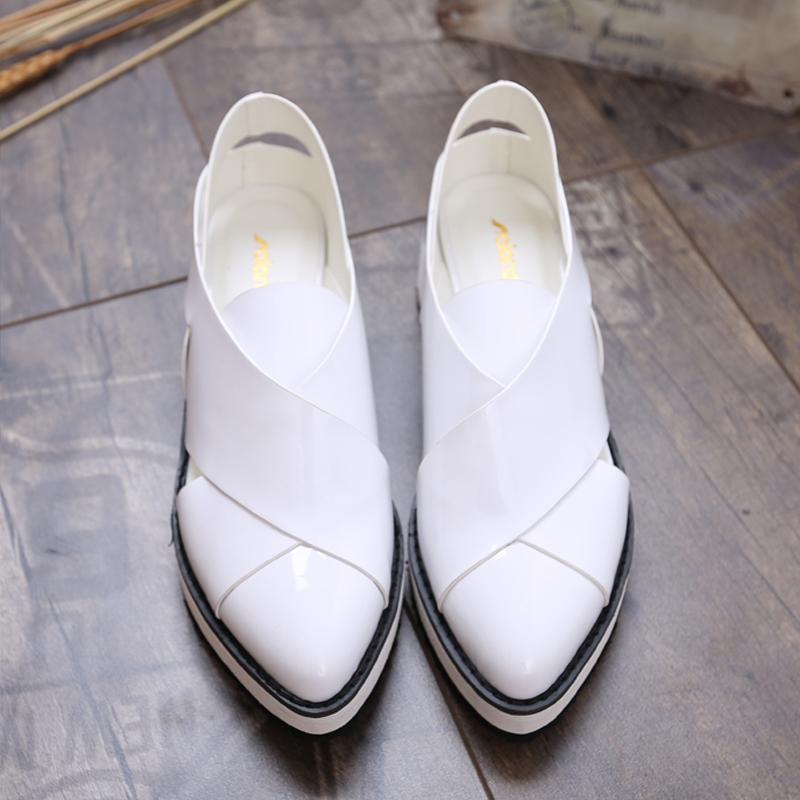 粗跟尖头鞋 2017粗跟新款英伦尖头凉鞋潮镂空平跟小白鞋女真皮女鞋单鞋护士鞋_推荐淘宝好看的粗跟尖头鞋