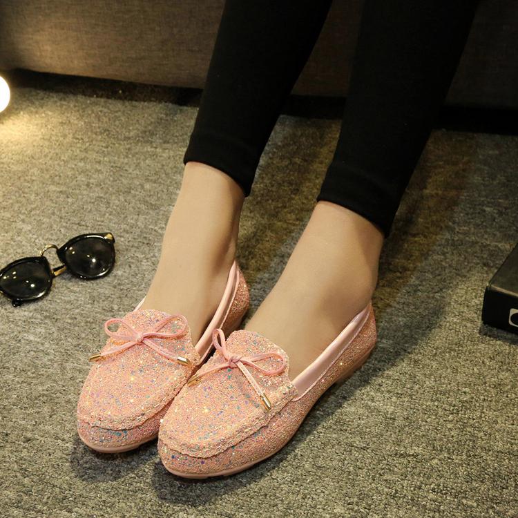绿色豆豆鞋 包邮2016新款四季单鞋亮晶晶蝴蝶结豆豆鞋粉色绿色平底女鞋_推荐淘宝好看的绿色豆豆鞋